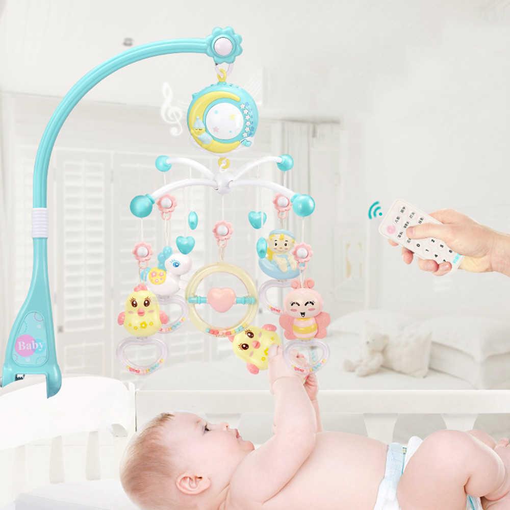 Мобильный для кроватки детские игрушки-погремушки 0-12 месяцев держатель вращающийся радио-няня кровать Музыкальная Коробка проекция Детские обучающие игрушки