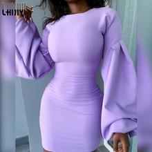 Laisiyi elegante roxo feminino queda vestido chique bainha longa lanterna manga festa mini vestido mujer elástico casual alta streetwear