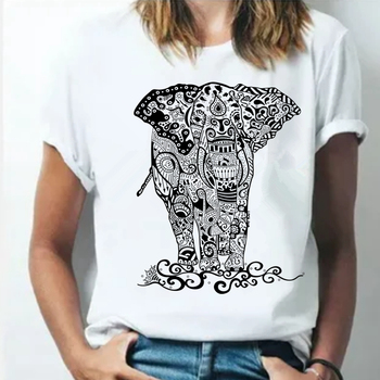Summer 2021 Cartoons Funny T shirts Women Fashion Short Sleeve O-Neck Tee Shirt Elephant printed Top Crop HH170 1