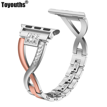 Stainless Steel Strap For Apple Watch Band 38mm 42mm Women Bling Rhinestone X Style Metal iwatch Series 4 3 2 1