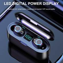 F9 TWS Wireless Earphone Bluetooth V5.0 Wireless Bluetooth Headphone LED Display With 2000mAh Power Bank Headset With Microphone(China)