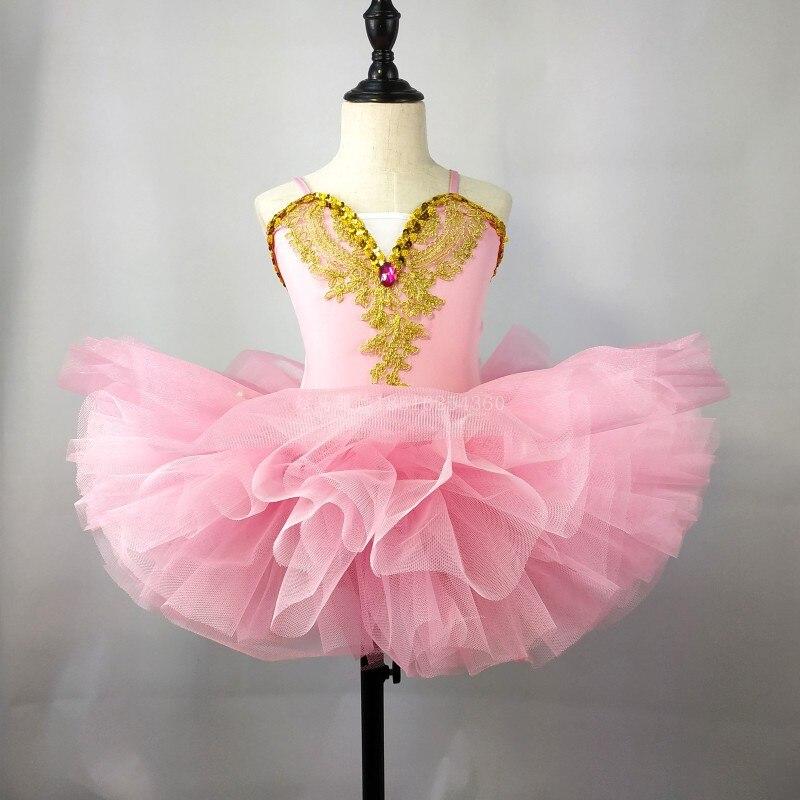 Новая детская одежда для выступлений пышная вуаль, расшитая блестками газовая юбка Детский костюм балетный костюм - Цвет: Pink