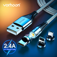 Vothoon 2.4A Magnetic Micro USB Tipe C Kabel untuk iPhone 11 Pro XS Samsung S10 S7 Xiaomi Magnet Charger Ponsel kabel Telepon Kabel(China)
