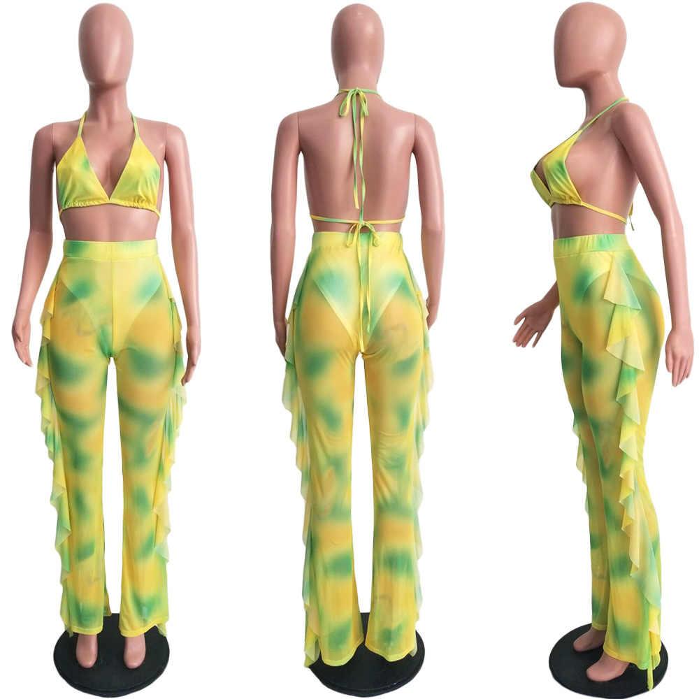 Baskı boya Adogirl örgü kravat yaz plaj iki parçalı Set külot kadın seksi sütyen yular kırpma üst fırfır geniş bacak pantolon Clubwear