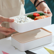 Double-Layer Lunch Box with Plastic Compartment For Adult Student