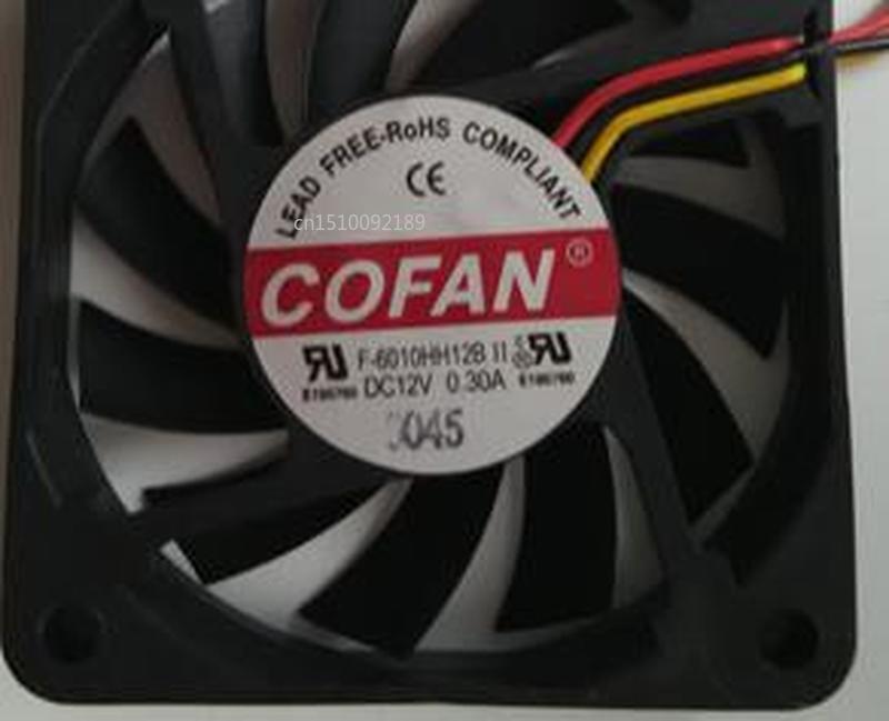 For COFAN F-6010HH12B DC 12V 0.30A 60x60x10mm 3-wire Server Cooler Fan Free Shipping