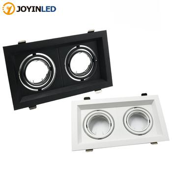 Oświetlenie kratki LED podwójne trzy oprawy oświetleniowe LED typu Downlight MR16 oprawa 12-260V wpuszczana żarówka GU10 wymienne oprawy oświetleniowe tanie i dobre opinie JOYINLED CN (pochodzenie) Pokrętło przełącznika 90-260 v YDG-20001369 Foyer 3 Years Aluminium Żarówki Light Source Replaceable Downlight