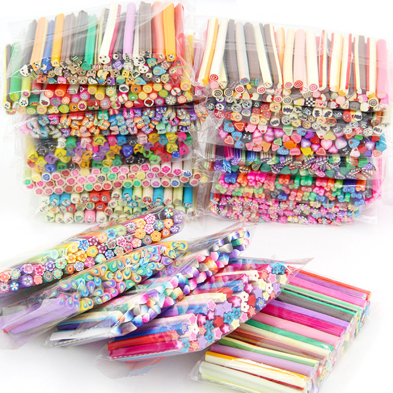 50Pcs 5mm*50mm DIY Slime Fruit Slices Nails Beauty Clay Artificial Plasticine Supplies Slimes Fluffy Glue Toys For Children Gift