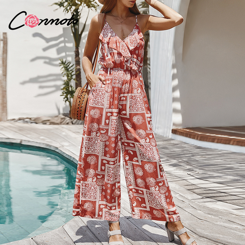 Conmoto Spaghetti Strap Floral Print Women Jumpsuits Bohemian Female Flare Jumpsuit Romper Beach Summer Holiday Ladies Overalls