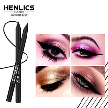 HENLICS Makeup Black Eye Liner Pencil Cosmetics easy to wear Waterproof Black Eyeliner Pen Pencil with Pencil sharpener(China)
