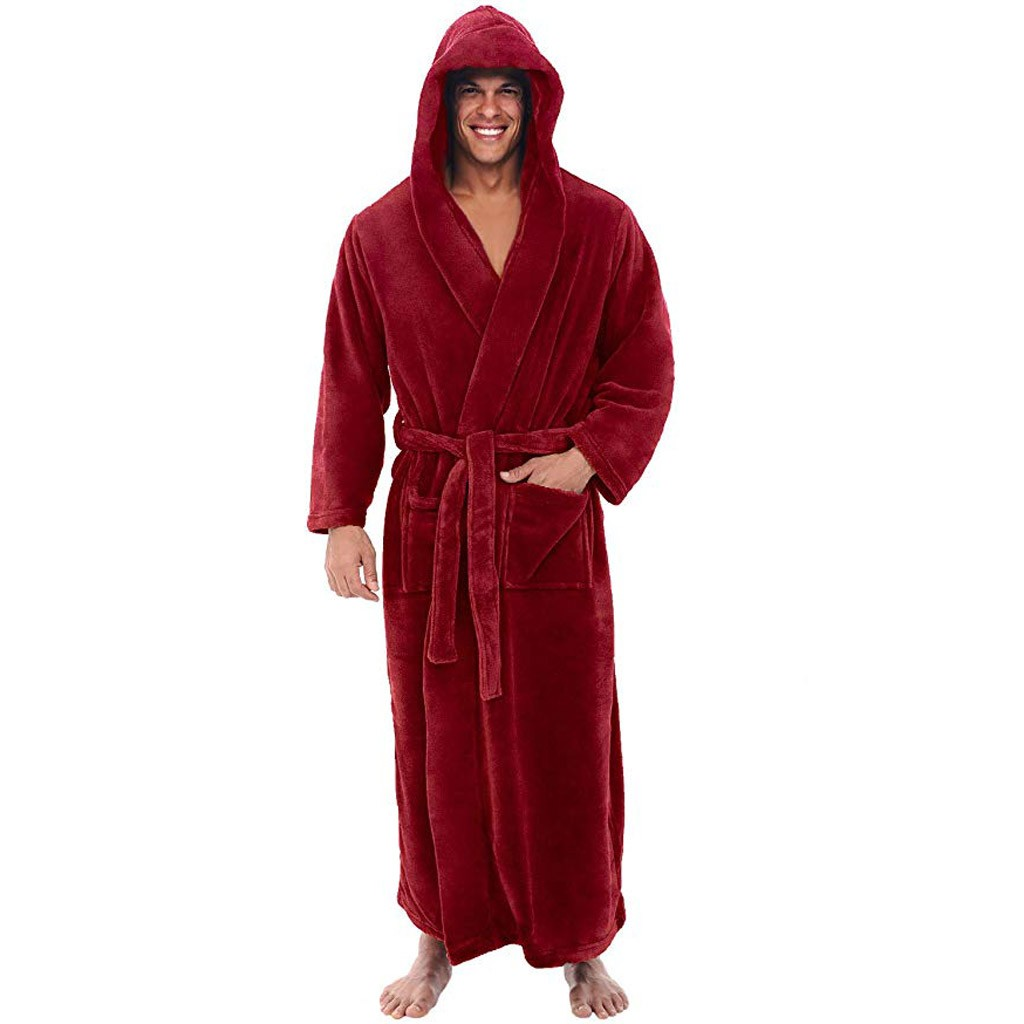 Men's Winter Bath Robe Plush Lengthened Shawl Bathrobe Home Clothes Long Sleeve Robe Coat Man D91019