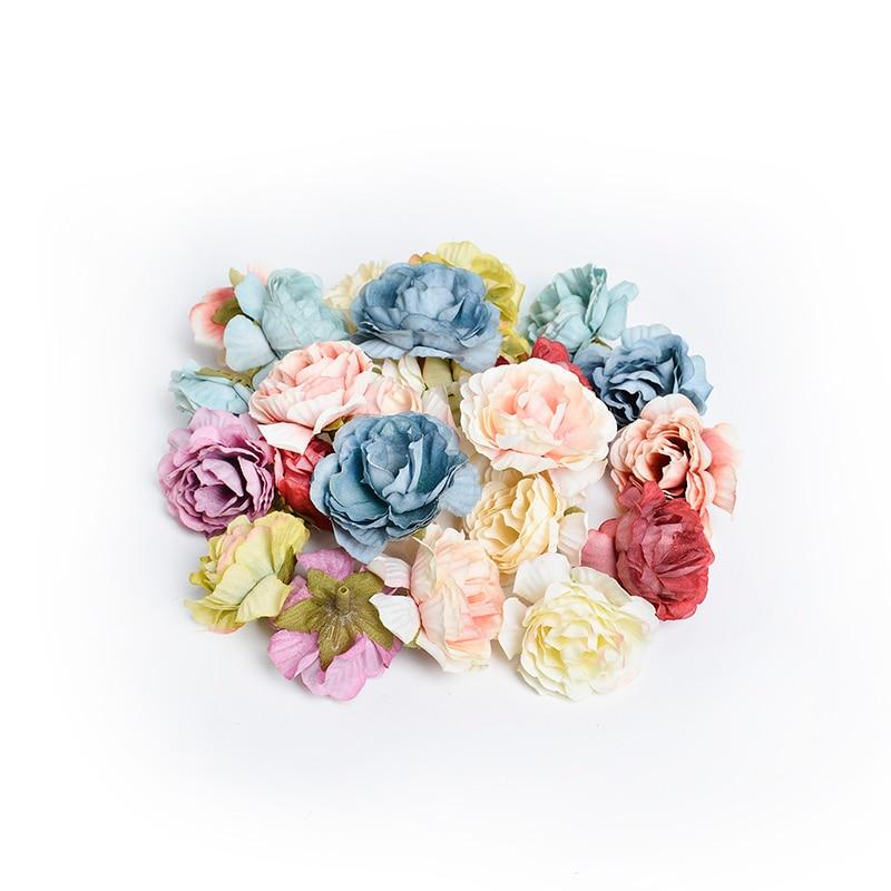 10pcs/lot artificial flower 5cm silk rose flower head wedding party home decoration DIY wreath scrapbook craft fake flower(China)