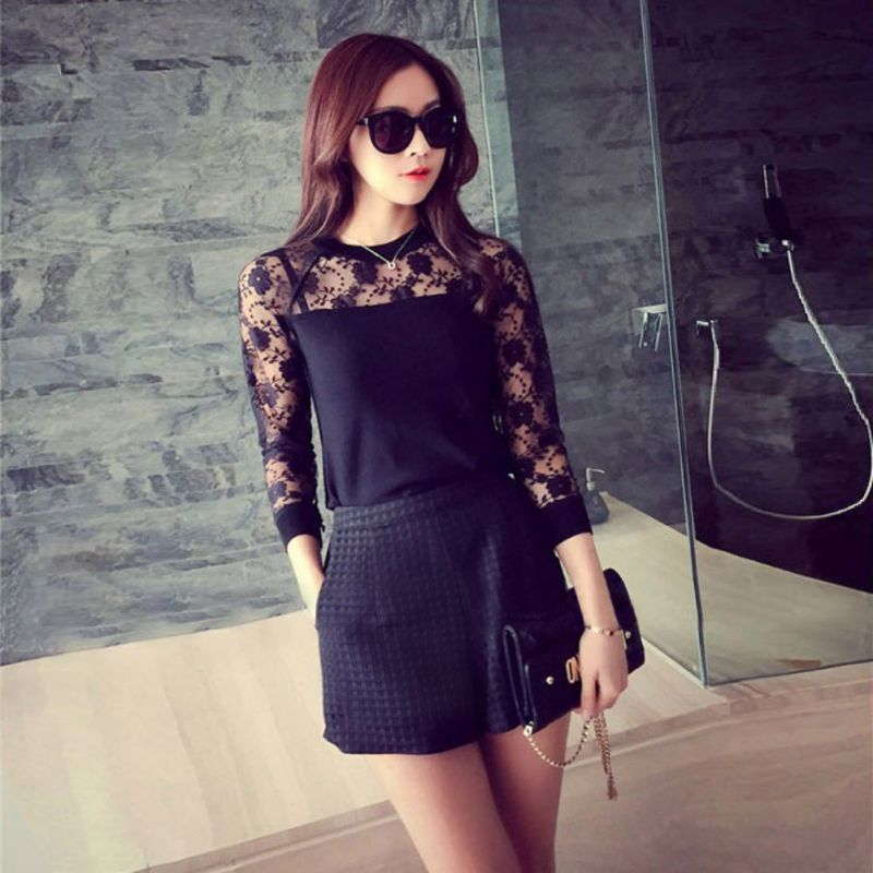 Women Middle Waist Shorts Personality Female Casual Loose Shorts Sexy Lace Short Feminino