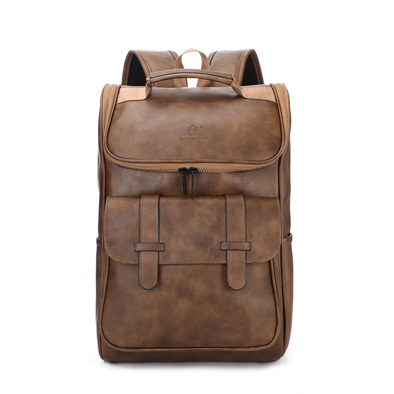 Vintage Laptop Leather Backpacks Tooling Backpack Men's Retro Backpacks Men's PU Travel Student Bags