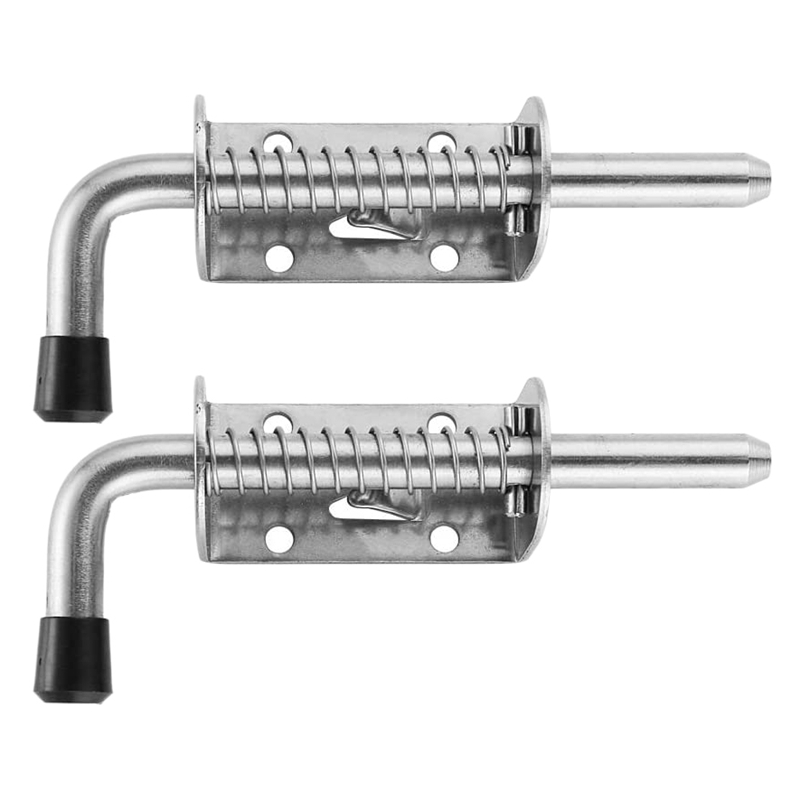 2Pcs 5 Inch Stainless Steel Spring Loaded <font><b>Latch</b></font> Pin <font><b>Barrel</b></font> <font><b>Bolt</b></font> 2mm Thickened Door Lock Brushed image