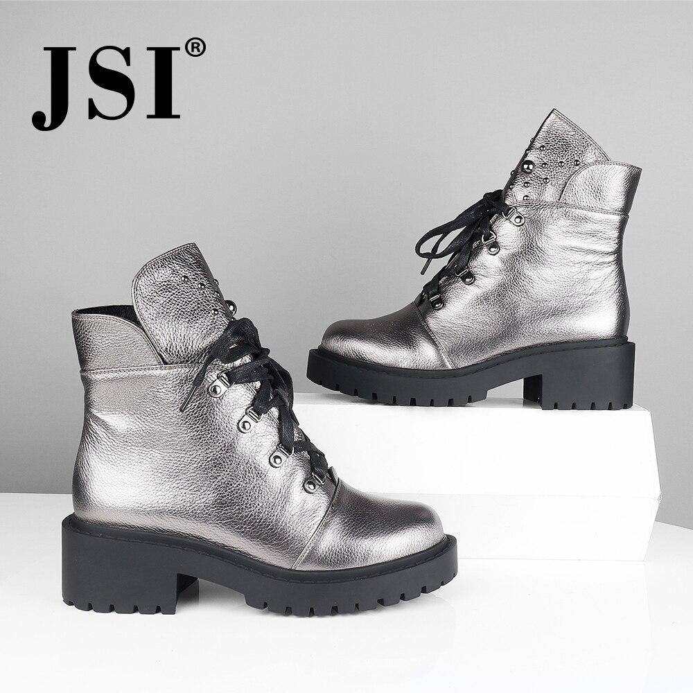 Jsi mulheres botas de tornozelo de couro genuíno nova venda quente sólida mid heel sapatos moda básica metal decoração dedo do pé redondo senhora botas jm42 - 2