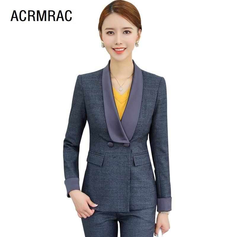 Women Suits Slim Autumn Winter Solid Color Blazers Jacket Pants 2-piece Set OL Formal Women Pants Suits Woman Set Suits 1520