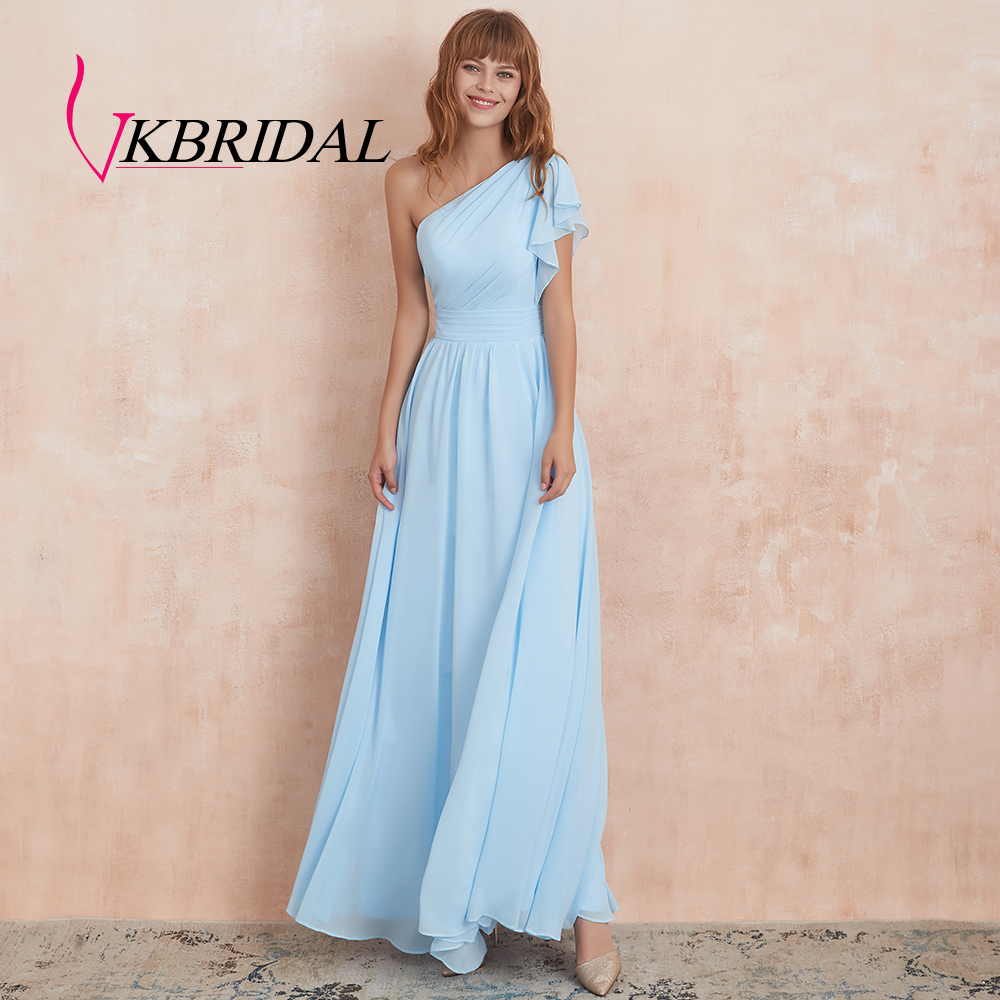 VKbridal A-Line Plus Size Wedding Party Prom Gowns 2019 For Juniros Real Picture One Shoulder Chiffon Bridesmaid Dresses Long