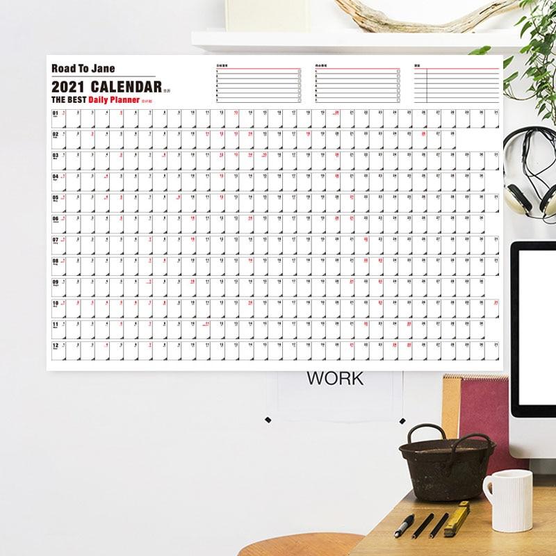 Calendário planejador 2021 calendário de parede perfeito para o plano de escolaridade em casa & programação 365 dias calendário de suspensão do estudante anual