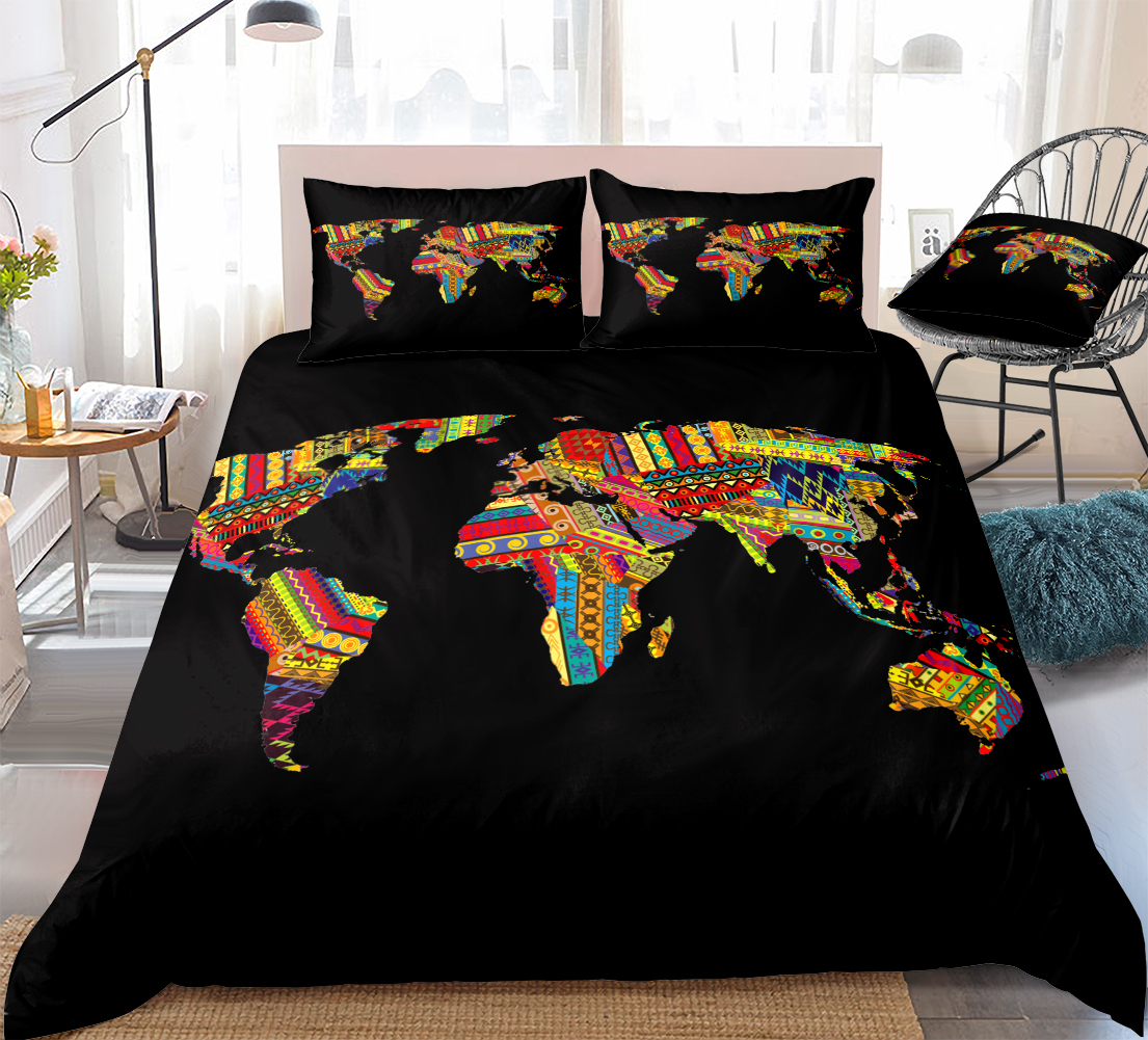 african map bedding set retro exotic quilt cover queen home textiles geometric duvet cover stripe bed set teens 3pcs black