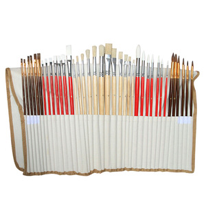 Image 5 - 38pcs/Set Nylon Hair Bristle Artist Paint Brushes with Canvas Case Wooden  Art Supplies For Oil Acrylic Watercolor Painting