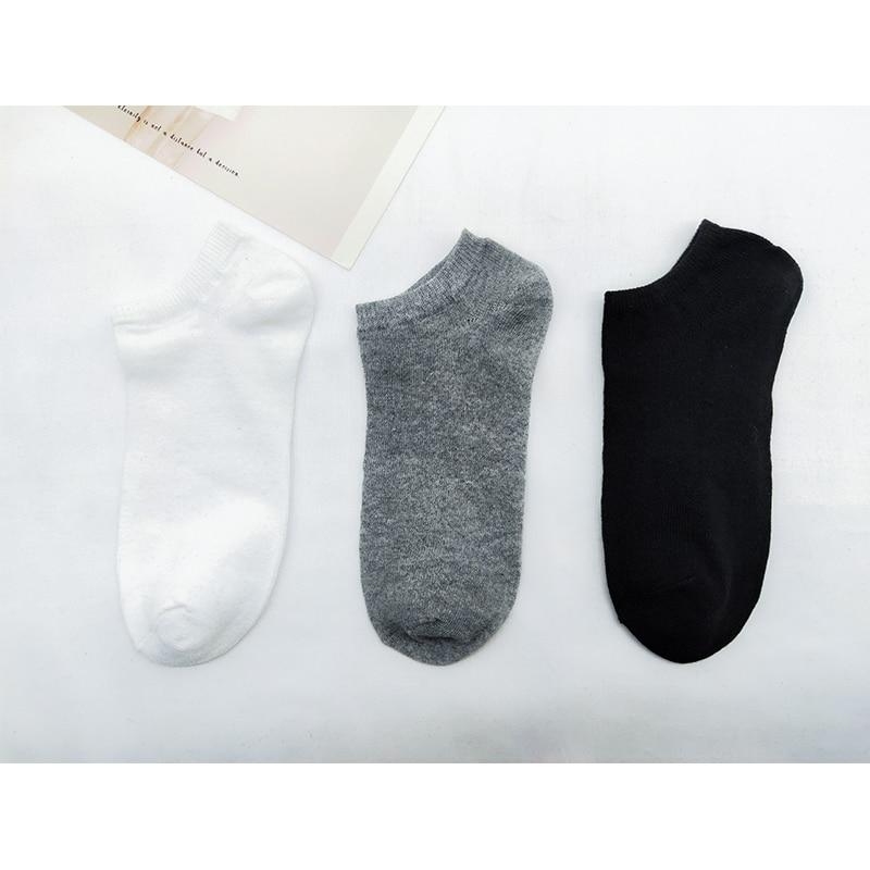 5 Pairs Men's Socks Breathable Sports Socks Solid Color Boat Socks Comfort Streetwear Ankle Socks Men White Black Calcetines
