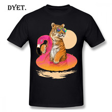 Flamingo T-shirt Chillin Flamingo Tiger T-Shirt Kurzarm Genial T Shirt Druck Klassische Baumwolle Xxx Mens T-shirt(China)