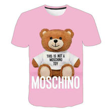 2021 summer new boy and girl cartoon anime cool cute bear 3d printing short sleeve polyester hot sale T-shirt