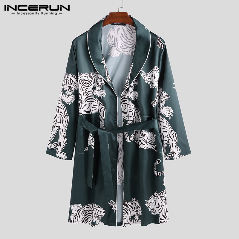 Men Printed Robes Long Sleeve Faux Silk Satin Lapel Pockets Kimono 2019 Sleepwear Fashion Casual Homewear Bathrobe INCERUN S-3XL
