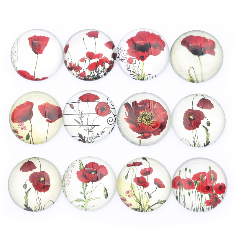 Mixed Red Flower Photo Round Glass Dome Cabochon 8mm 10mm 12mm 14mm 16mm 18mm 20mm 25mm 30mm Flat Back DIY Jewelry Accessories