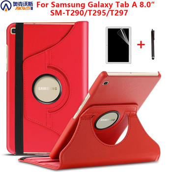 Walkers Case for Samsung Galaxy Tab A 8.0 2019 Case funda for Samsung SM-T295 T290 T297 PU Leather Stand Cover film +stylus image