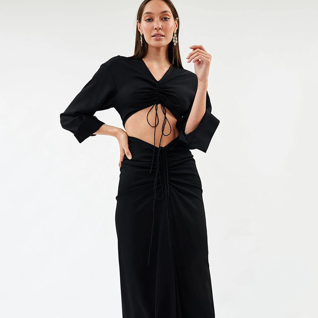 2021 Summer Two Piece Set Top And Maxi Skirts Womens Tracksuit Sexy Long Sleeve V-neck Party Suit Sets Woman 2-Piece Outfit Sets 3