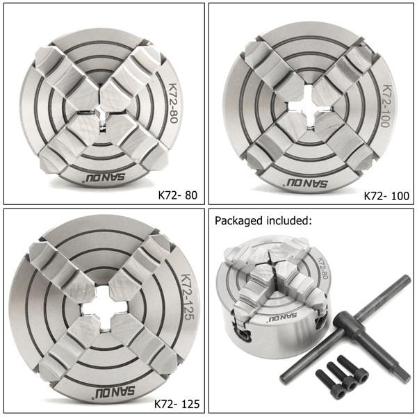 K72- 80/K72- 100/K72- 125 4 mandril de torno de mandíbula 80mm/100mm/125mm Independiente 1 Uds llave de seguridad 3 uds perno de montaje