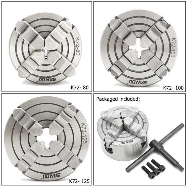 K72-80/K72-100/K72-125 Mandíbula Mandril Torno 80 4mm/100mm /125 milímetros Independente 1pcs Segurança Chuck Chave 3pcs Parafuso De Montagem