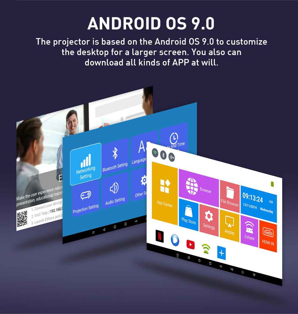 Real tv p09 mini portátil dlp android projetor cinema em casa hdmi suporte 4k wifi bluetooth miracast airplay telefone móvel-3