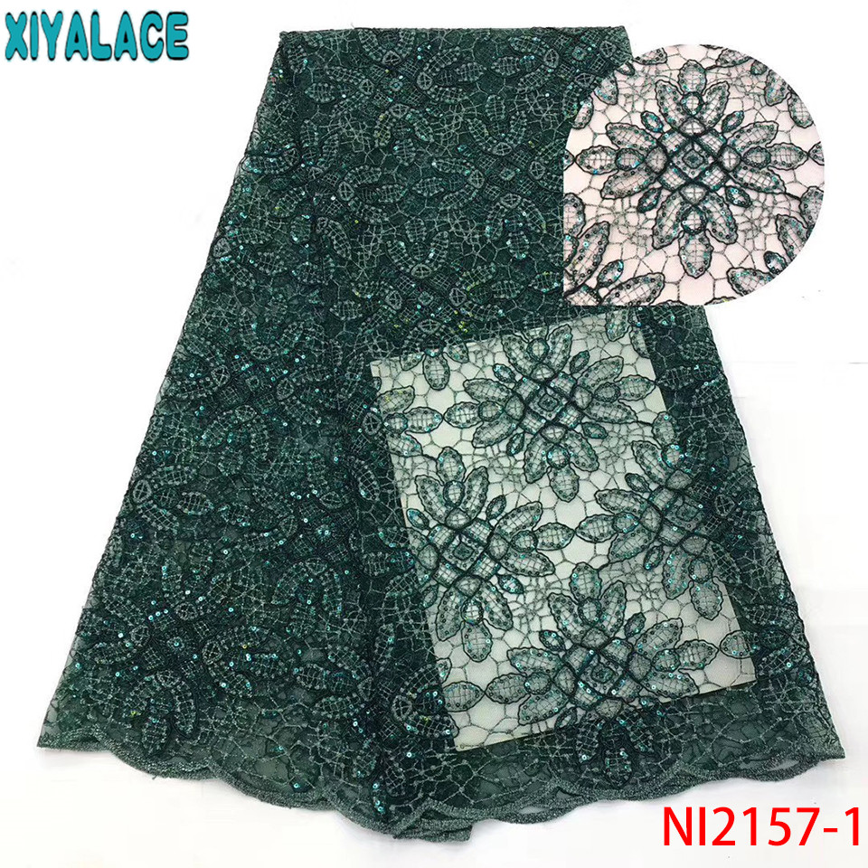 Latest Sequins Net Tulle Mesh Lace,High Quality Lace Fabric,2019 Nigerian Lace Fabrics For Party Dresses KSNI2157-1