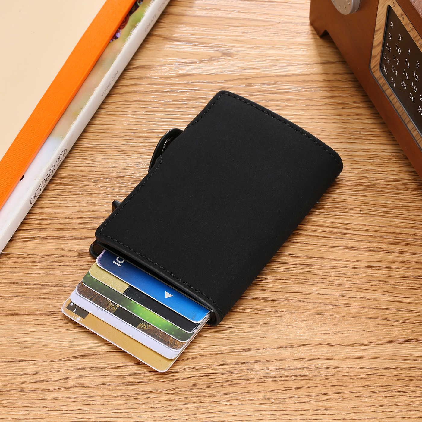 BISI GORO tek kutu kart tutucu PU deri kart cüzdan yeni erkek RFID engelleme alüminyum akıllı çok fonksiyonlu ince cüzdan kart Case