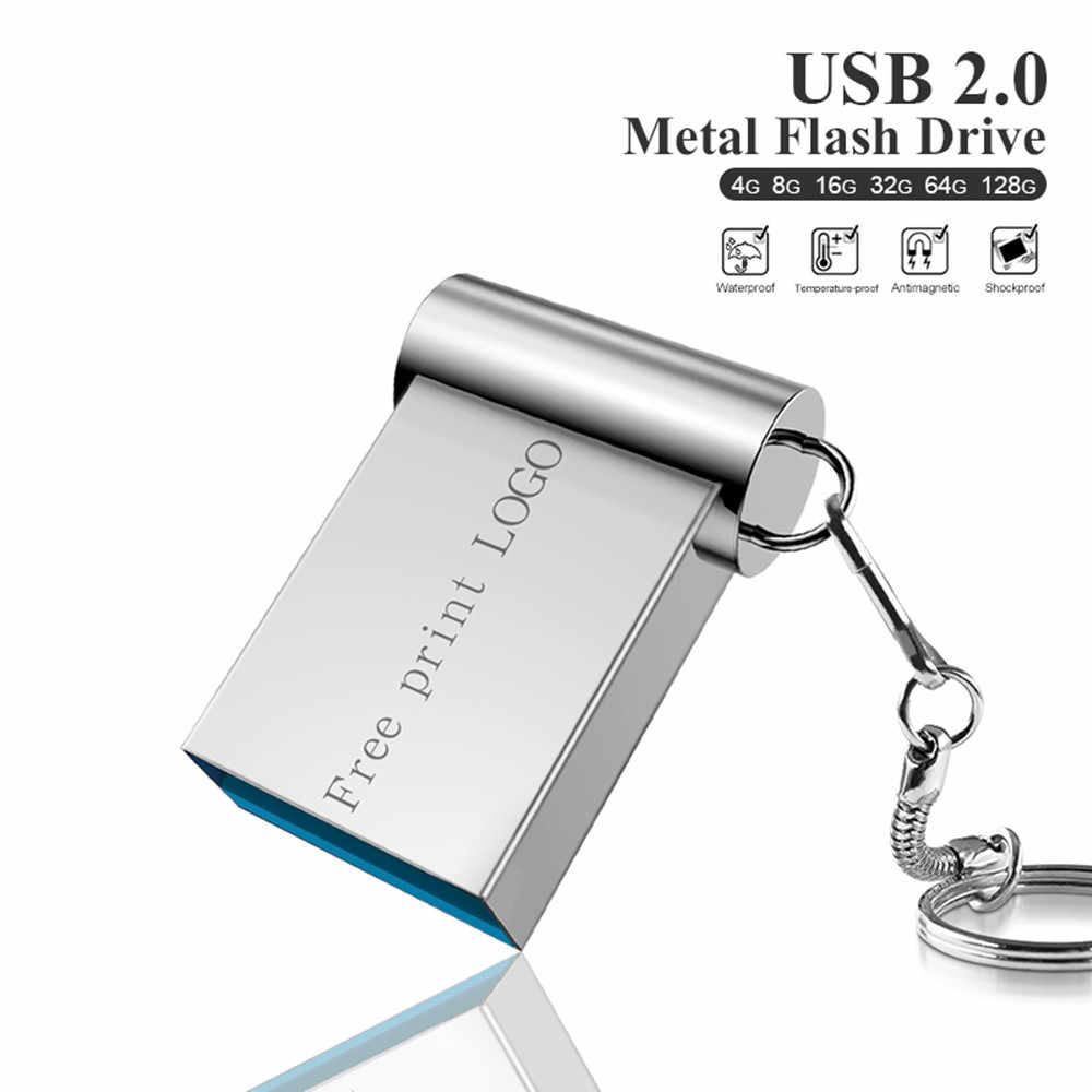 Nuevo Metal pen drive 128GB 64GB cle usb 2,0 usb flash drive 32GB pendrive 16GB 8GB de memoria flash memoria usb Logotipo de impresión gratuita