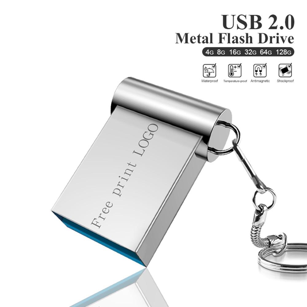 New Metal Pen Drive 128GB 64GB Cle Usb 2.0 Usb Flash Drive 32GB Pendrive 16GB 8GB Flash Memory Stick Memoria Usb Free Print LOGO