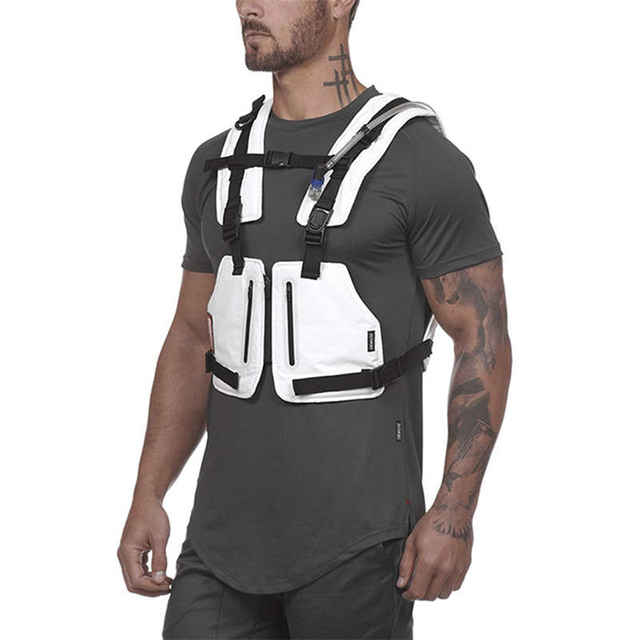 Function Military Tactical Chest bag Vest Outdoor Hip hop Sports Fitness Men Protective Reflective Top Vest   Calm and Carry On