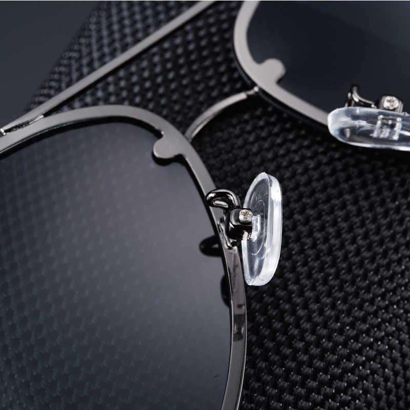Lunettes de soleil polarisées sans monture avec cadre en métal miroir bleu UV400 lunettes de soleil pour hommes avec boîte