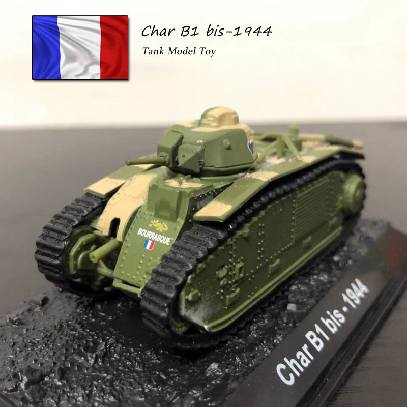 Brand New 1/72 Scale Military Model Toys World War II France Char B1 Bis-1944 Medium Tank Diecast Tank Model Toy For Collection