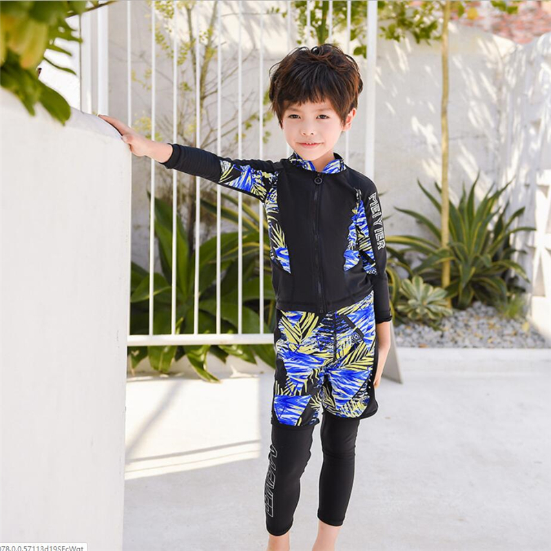 Top Quality Korean 2020 Boys Swimwear With UV Protection Long Sleeve Swimsuit Kids 3 Pieces Zipper Swimming Costume For Children