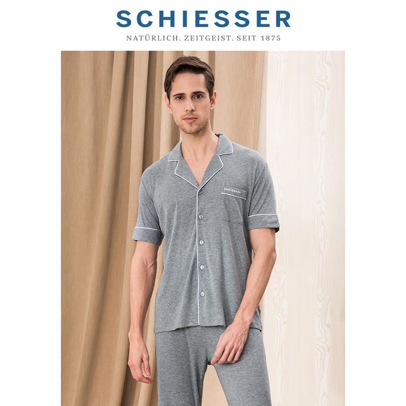 SCHIESSER Men's cotton modal breathable short-sleeved trousers home suit E5/17016H