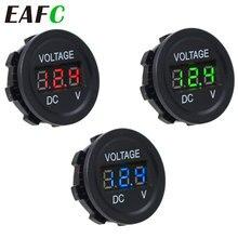 Mini voltmètre numérique étanche rond, panneau LED DC6V-30V, pour voiture, bateau, moto, testeur de tension, moniteur, affichage, voltmètre