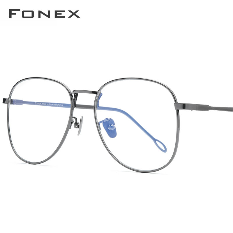FONEX Pure Titanium Glasses Frame Women Vintage Big Myopia Optical Prescription Eyeglasses Frames Men 2020 Oversize Eyewear 8516 image