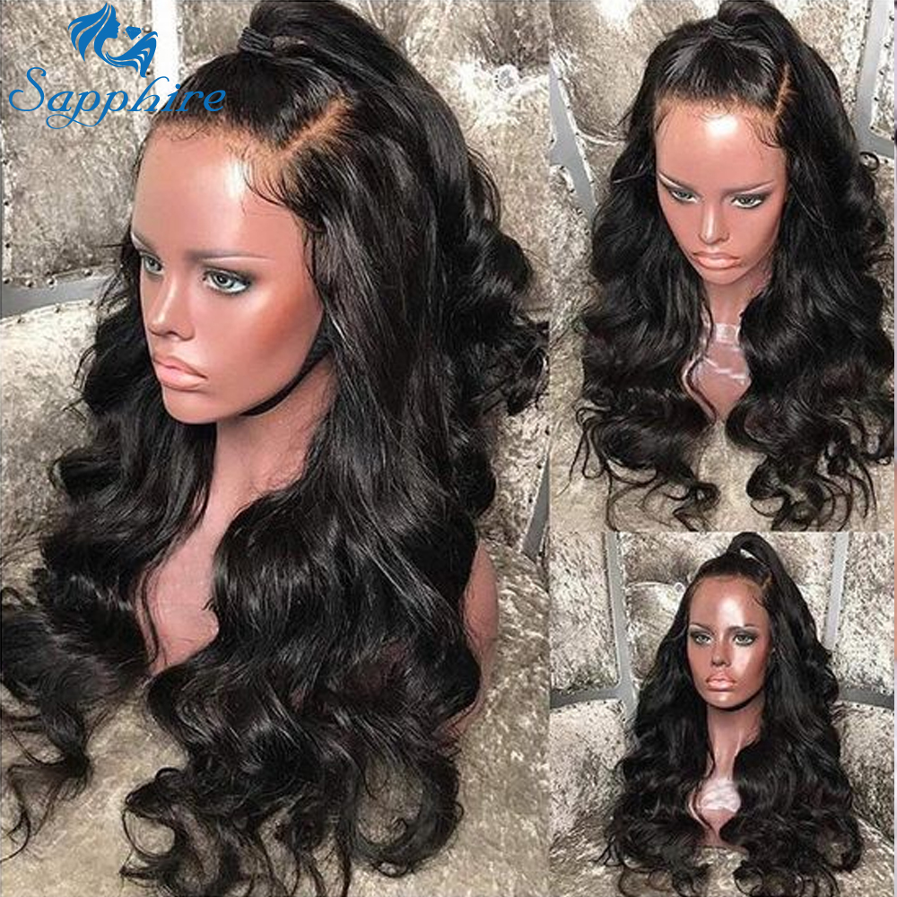 Sapphire 13*4 Lace Front Human Hair Wigs Pre Plucked Baby Hair Brazilian Body Wave Remy Hair Lace Front Human Hair Wig For Black