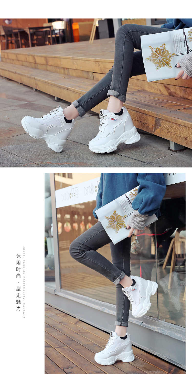 2020 White Trendy Shoes Women High Top Sneakers Women Platform Ankle Boots Basket Femme Chaussures Femmes Height Increase Shoes