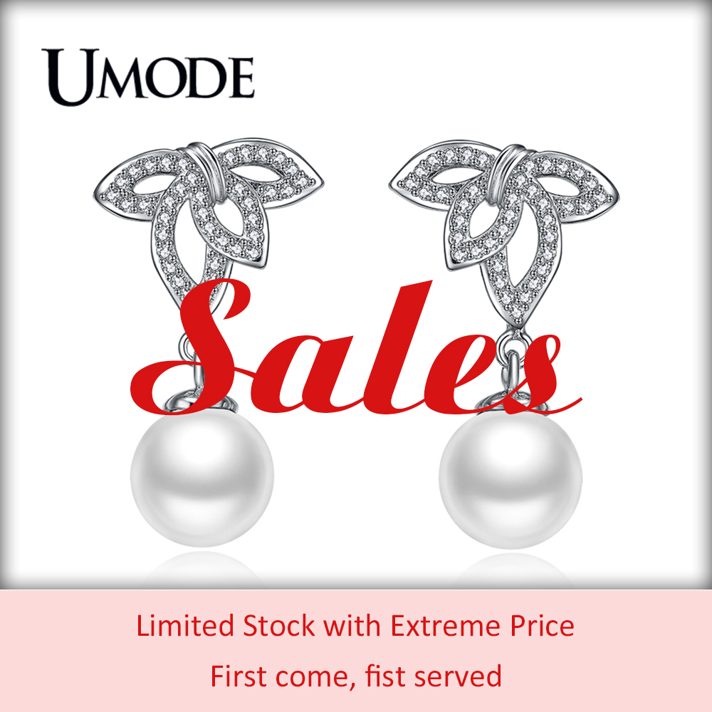 UMODE Sales Extreme Price Fashion White Pearl Drop Earrings For Women Limited Stock Paved CZ Zircon Earring Jewelry