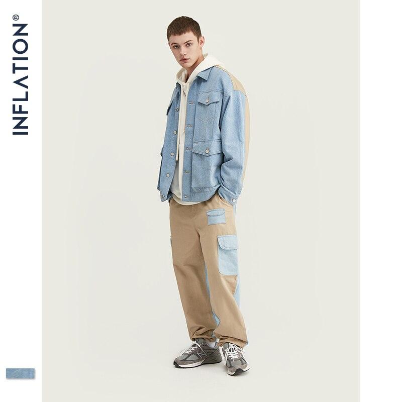 INFLATION Men Denim Men Suit Autumn Winter Fashion Men Blazer Jeans Suit Loose Fit Outwear Denim Men Suit Spliced Jeans Suits